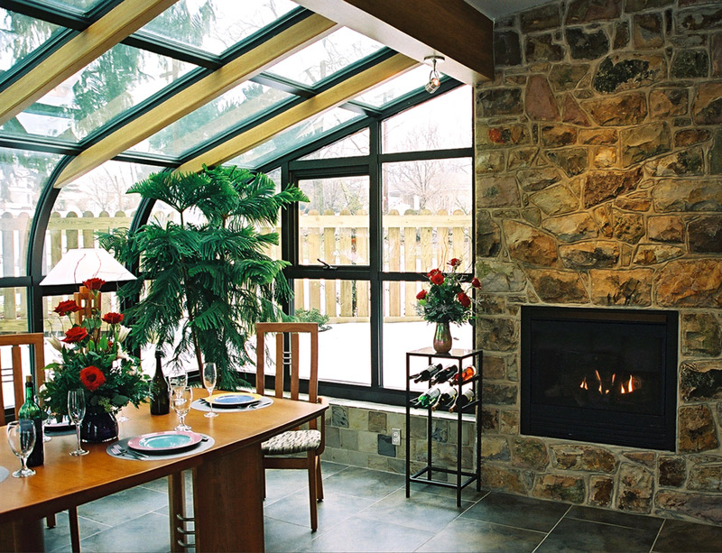 Sunroom on pinterest three season porch 3 season room for Sunrooms with fireplaces