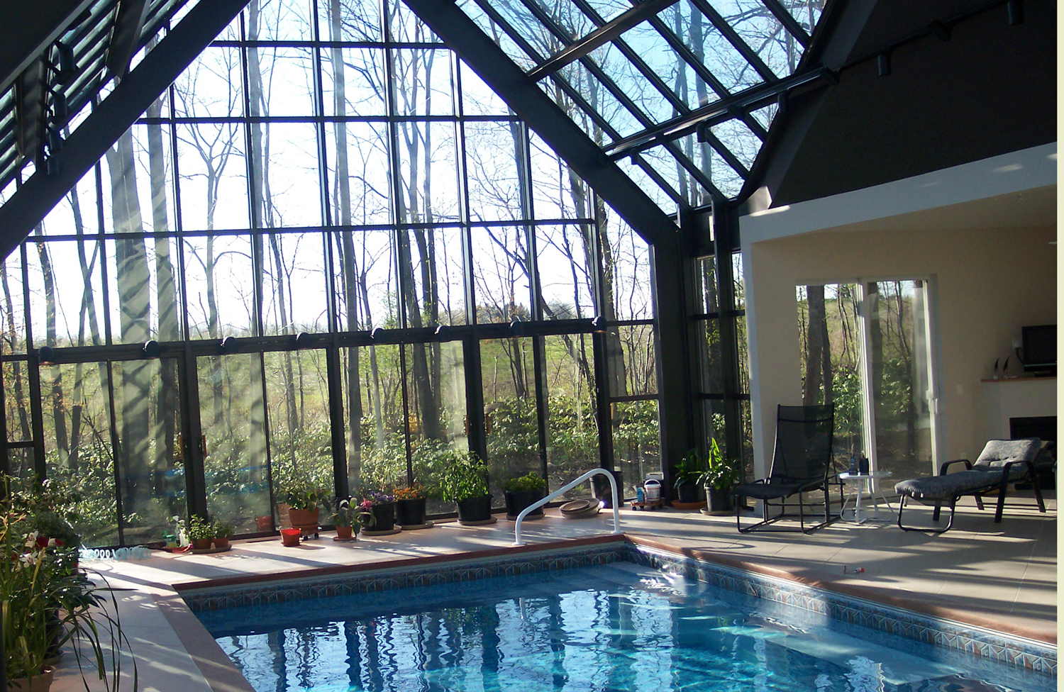 Dream rooms on pinterest indoor pools conservatory and for Pool inside greenhouse